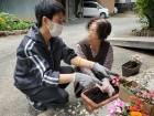 「花は庭で育てよったんよ!」と花の植え替えを手伝ってくださいました(*´∀`*)