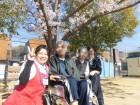 デイの前の公園の満開の桜の下で記念撮影(*^_^*)