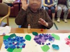 貼り絵で紫陽花の作品を作りましたヾ(o´∀`o)ノ